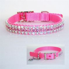 A dainty collar with clear and light rose Swarovski crystals on a soft and sturdy pastel pink nylon.