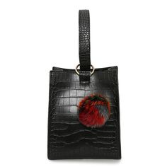 2017 Brand Design women handbags high quality pu leather shoulder bag fashion Alligator small bucket bags with fur ball ornament