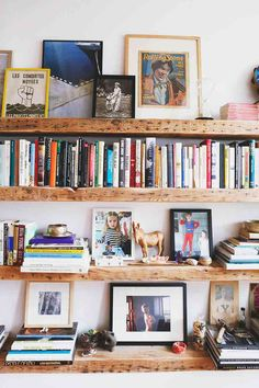 Top 20 Home Tours of All Time: A Crown Heights Family Makes It Work – Design*Sponge Wood Bookshelves, Bookcase Shelves, Wood Shelves, Office Shelving, Library Shelves, Bookshelf Styling, Home Libraries, Home Living Room, Interior Inspiration