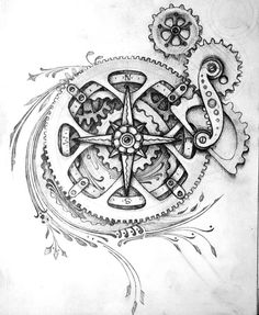 Black And Grey Bike Gears Tattoo Design