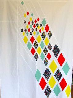 Improvised diamond quilt top | by katedeerie