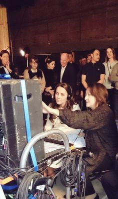 HRH watches a scene from series 6 @DowntonAbbey being filmed via a monitor in the 'video village' #DuchessAtDownton