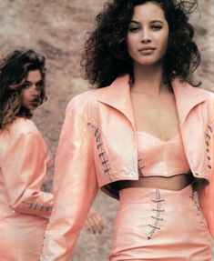 Michael Hoban for North Beach Leather, American Vogue, March 1988. Models: Cindy Crawford and Christy Turlington.