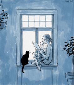 58 ideas for cats art illustration reading Art And Illustration, Ouvrages D'art, Reading Art, Girl Reading, Reading Time, Reading Books, Cat Drawing, Drawing Rain, I Love Books