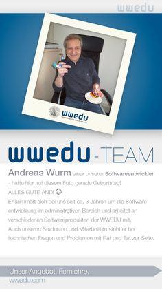 WWEDU-Team: Andreas Wurm - einer unserer Softwareentwickler - hatte auf diesem Foto gerade Geburtstag! ALLES GUTE ANDI :-)  Er kümmert sich bei uns seit ca. 3 Jahren um die Softwareentwicklung im administrativen Bereich und arbeitet an verschiedenen Softwareprodukten der WWEDU mit. Auch unseren Studenten und Mitarbeitern steht er bei technischen Fragen und Problemen mit Rat und Tat zur Seite. 2 Kind, Dream Team, Andreas, September, Food, Not Interested, Business Accounting, Meal, Essen