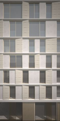 Facade Design for a residential tower - Belgium - Travertin use as cladding - Architecture - Facade