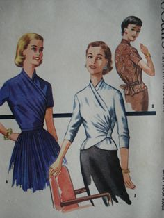 From 1955--CLASSY SURPLICE WRAP n TIE BLOUSE PATTERN BEAUTIFUL DRAPED DESIGN, TUCK IN or OVERBLOUSE McCALLS 3512