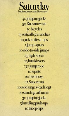 Short workout, Daily workout routines