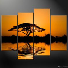 Neoteric African Wall Decor Framed 4 Panel Large Art Modern Sunset Oil Painting Beach Picture Home X Canva Online Idea Sculpture Mask American Basket Animal Headdress Woman Frame Wall Decor, Wall Art Decor, Multi Canvas Painting, Oil Painting Abstract, Canvas Wall Art, Canvas Pictures, Art Pictures, African Wall Art, Landscape Paintings