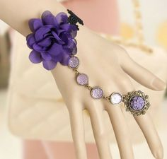 Free Shipping, DIY Fashion flower vintage lace women's bracelet with ring one piece chain goths...