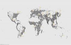 mapsontheweb:  'Population Lines' — Population Density by Latitude Source
