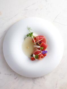 Bonito | Marinated katsuo, bonito dashi gelée, daikon roll, datterino tomato confit by chef Vicky Lau. - See more at: http://theartofplating.com/editorial/qa-vicky-lau-on-the-harmony-of-food-art/#sthash.mkYR2H5X.dpuf