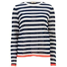 Orla Kiely Women's Striped Sweater - Navy/White ($195) ❤ liked on Polyvore featuring tops, sweaters, navy striped sweater, white tops, striped sweater, lightweight sweaters and navy blue sweater