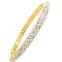 Bracelete folheado dourado cravejado com zirconias semi-joia