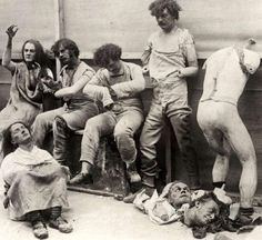 Creepy Old Vintage Photos~ wax dummies at madame tussauds wax museum after fire