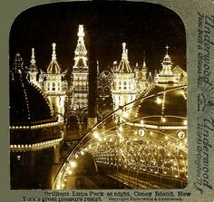 Luna Park, Coney Island, Brooklyn, New York City, about  1905  Stereoscopic Card. Fires in 1944 destroyed Luna Park. It was not rebuilt