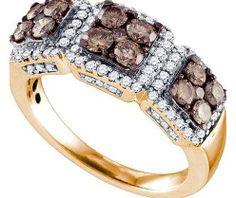 Cognac Diamond Ladies Fashion Band in 10k Rose Gold 1.37 ctw - Rings - Jewelry at Viomart.com
