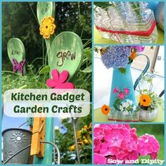 Re-purpose kitchen gadgets into fun garden crafts #gardencrafts #gardenjunkart