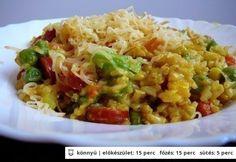 Currys rizs gazdagon -     25 dkg barnarizs     20 dkg virsli (vagy 30 dkg csirkemell)     30 dkg fagyasztott mexikói keverék (vagy konzerv zöldségkeverék)     2 közepes db újhagyma (zöldjével együtt)     20 dkg sajt (lehet füstölt is)     1 ek napraforgó olaj     bors ízlés szerint (őrölt)     só ízlés szerint     curry por ízlés szerint Good Food, Yummy Food, Recipe Boards, Smoked Salmon, Nutritional Supplements, Salmon Recipes, Fried Rice, Curry, Healthy Eating