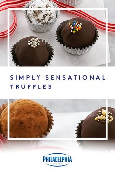 Simply Sensational Truffles –  the name says it all. And, after one bite, you'll think so too. All you need for this sweet recipe is BAKER'S semi-sweet chocolate, PHILADELPHIA Cream Cheese and edible decorations of your choice. #ItMustBeThePhilly