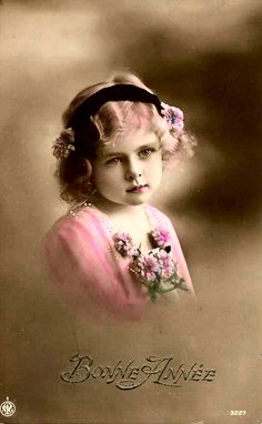 vintage girl with pink