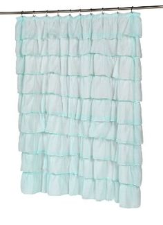 Carnation Home Fashions Carmen Crushed Voile Ruffled Tier Shower Curtain, 70-Inch by 72-Inch, Blue