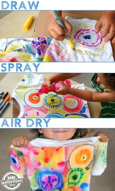 Fun way to color a shirt. This color spray, science through art activities for kids is a really fun way to take a look at how color spreads. Kids Crafts, Art Activities For Kids, Preschool Crafts, Projects For Kids, Art For Kids, Craft Projects, Arts And Crafts, Summer Activities, Kid Art