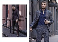 Left: Suiting up, Ryan Cooper wears Ermenegildo Zegna tailoring with a Dsquared2 t-shirt and Calzoleria Toscana oxford shoes. Right: Cooper has a suave style moment in a Canali suit and Ermenegildo Zegna shirt.