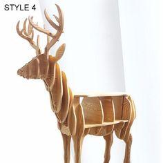 Modern Creative Elk wood Deer Desk Coffee Table Wooden Home Furniture Storage Study Book Shelf Household Side Table 72*64*26cm