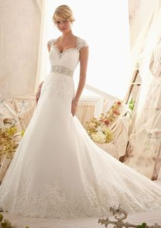 BRIDAL GOWNS FROM MORI LEE BY MADELINE GARDNER 2616 Crystal Beaded Embroidery and Alencon Lace Appliques on Net with Wide Hemline