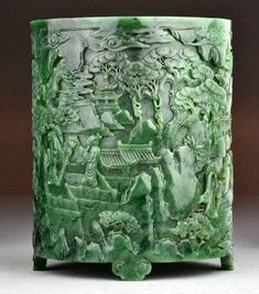 5. Important Chinese Carved Spinach Jade Brush Pot