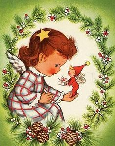 Angel with pixie Christmas Past, Christmas Bells, Christmas Angels, Christmas Greetings, Reindeer Christmas, Christmas Goodies, Christmas Printables, Holiday Cards, Xmas
