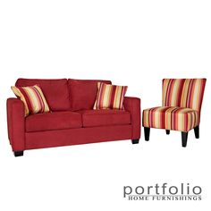 This Portfolio Home Collection features the transitional Madi squared arm sofa and the Hali armless chair. The sofa is covered in a crimson red microfiber which is paired with the boldly striped armless Hali chair.