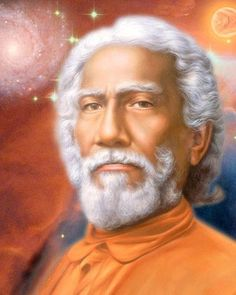 Swami Sri Yukteswar Photo - Red Background, Swirling Stars, and Red Moon 8x10