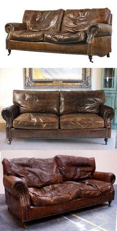 £1350 205cm  Distressed Vintage Leather Sofa 3 Seater