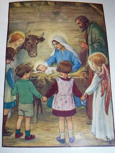 Illustration from The Little Picture Hymn Book. Illustrated by Cicely Mary Barker. Away in a Manger