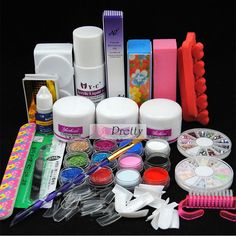 12PC Mix Color Acrylic Powder Liquid Nail Art Glitter Tips Glue Deco Tools Kit #Unbranded