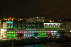 'Volume Unit' - part of the 2013 Lumiere light festival in Durham. The exterior of Milburngate House was transformed into a visual jukebox.