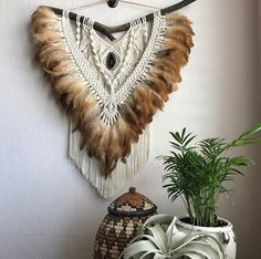 Macrame feather agate wall hanging by imyourgypsy