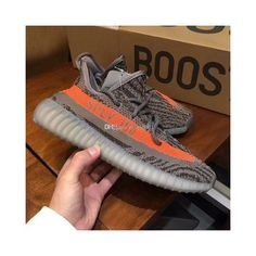 (With Box) Boost 350 V2 Beluga Grey Orange 2.0 Correct Version Fashion... via Polyvore featuring men's fashion, men's shoes, mens orange shoes, mens shoes, mens grey shoes and mens gray dress shoes