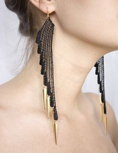 Makes me wish I didn't have such a short neck! ;) Lace earrings Dark Angel Black and gold by thisilk on Etsy, $38.00