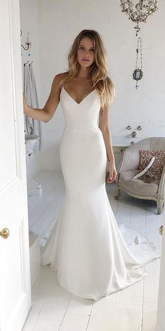 Charming V neck Sweep Train Mermaid Prom Dresses with Spaghetti Straps, Long Eve. wedding dress , Charming V neck Sweep Train Mermaid Prom Dresses with Spaghetti Straps, Long Eve. Charming V neck Sweep Train Mermaid Prom Dresses with Spaghetti St. Best Wedding Dresses, Simple Elegant Wedding Dress, Satin Mermaid Wedding Dress, Simply Wedding Dress, Wedding Dress Trumpet, Satin Wedding Dresses, Simple White Dress, Outside Wedding Dresses, Sleek Wedding Dress