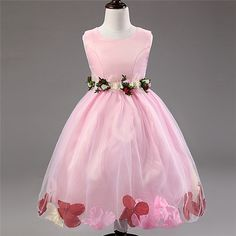 Quite Practical Lovely Flower Girl Dresses,Pink,White,Purple,Red,Blue Girls Dress for Party,2-7 Years Girls Wear.