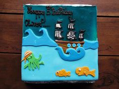 Chocolate truffle and vanilla cream pirate cake made by Bayon Pastry School for a kid's birthday in Siem Reap, Cambodia.