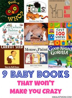 These are the best board books for babies and parents because you can read them again and again...without getting sick of them! These baby books will also grow with your child and become favorite stories when they're in the toddler years, too. Must-have books for your baby's first library!
