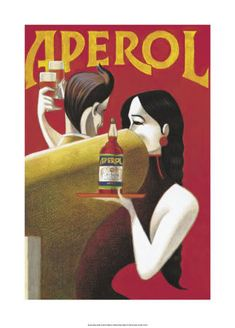 """Aperol """"Randez-Vous"""" Vintage Italian Poster, by Lorenzo Mattotti Vintage Italian Posters, Pub Vintage, Vintage Advertising Posters, Vintage Labels, Vintage Travel Posters, Vintage Advertisements, Vintage Kitchen, Retro Poster, Poster Art"""