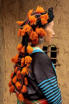 Asia | Portrait of a White Hmong woman with traditional headdress, Tuan, Giao village, Vietnam | © Walter Callens