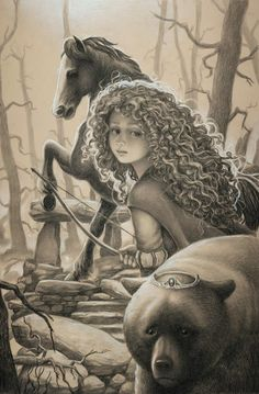 "Merida and Elinor from ""Brave"" - Art by Edson Campos Walt Disney, Disney Nerd, Disney Love, Drawing Cartoon Characters, Cartoon Drawings, Pencil Drawings, Disney Princess Drawings, Disney Drawings, Deviant Art"