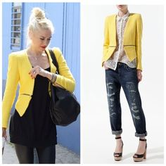 • Zara Celeb Fav Zip Yellow Jacket • As seen on Gwen Stefani , Raven Symone , Kendall Jenner , Pretty Little Liars , and endless of fashion bloggers. Open to reasonable offers but this is a hard to find piece! More pictures to come. Zara Jackets & Coats Blazers