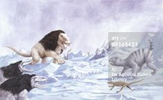 Illustration of prehistoric animals in Ice Age environment (Photo by De Agostini Picture Library/De Agostini/Getty Images)